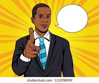 Vector colorful pop art illustration of businessman pointing on you. Handsome African American guy in suit show direction forward