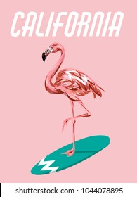 Vector colorful poster with hand drawn illustration of  flamingo on surfboard. Template for card, placard, banner, print for t-shirt, pin , badge and patch.