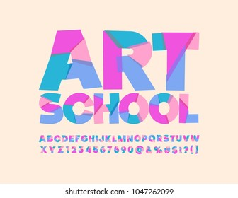 Vector Colorful poster with text Art  School. Cute bright Font. Artistic abstract mosaic Alphabet Letters, Numbers and Symbols