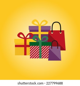 Vector colorful presents and gift bags on a yellow background.