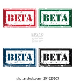 Vector : Colorful Rectangle Grunge Style Beta Icon, Rubber Stamp or Label Isolated on White Background