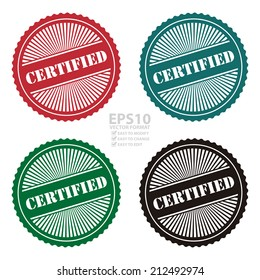 Vector : Colorful Retro Style Certified Icon, Stamp or Label Isolated on White Background