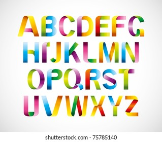 vector of colorful ribbon alphabet