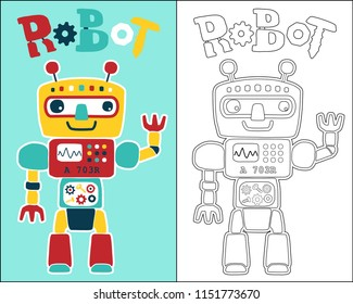 vector of colorful robot cartoon, coloring book or page