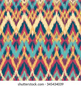 Vector colorful seamless ikat ethnic pattern