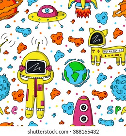 Vector colorful seamless pattern of astronaut, planets, ufo, rocket, cosmo cat and asteroids on white background.
