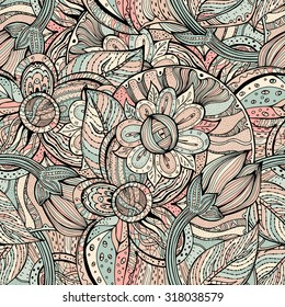 Vector colorful seamless pattern. Ethnic retro design in zentangle style with floral elements