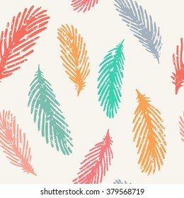 Vector colorful seamless pattern with feathers bird