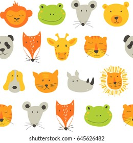 Vector colorful seamless pattern for kids with animals.  Ideal for cards, invitations, baby shower, party,  kindergarten, children room decoration.
