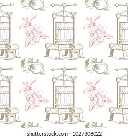 Vector colorful seamless pattern with presses for squeezing, apples and flowers. Perfect for apple cider, juice, wallpapers, surface textures and more creative designs. Colorful Digital illustration.