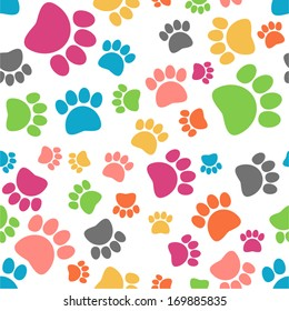 vector colorful seamless paw pattern - Separate layers for easy editing