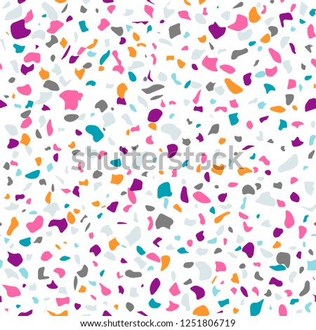 Vector Colorful Seamless Terrazzo Pattern Marble Stock