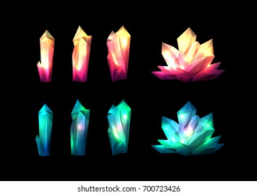 Vector colorful set of crystals. Bright shiny jewel design decorative elements isolated on black.