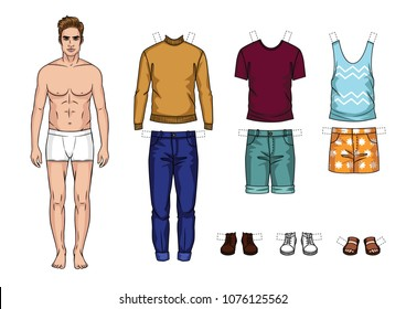 Vector colorful set of fashionable men's outfits isolated from background. Cartoon style guy paper doll with summer clothes