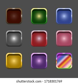 Vector colorful set of game buttons and frames.GUI elements for mobile applications. Options and selection windows, panel settings. Cartoon board menu interface.