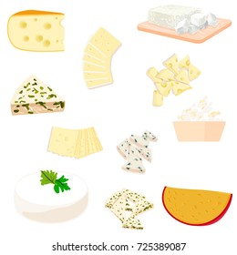 Vector colorful set illustration different types of cheese