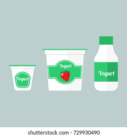Vector colorful set of illustrations with different types of packaging with yogurt isolated on blue background