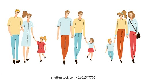 Vector colorful set with illustrations of a young familys, mom dad and their children, daughter, son together walking on the street