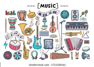 Vector colorful set on the theme of music. Isolated cartoon doodles of musical instruments and symbols on white background. Line art