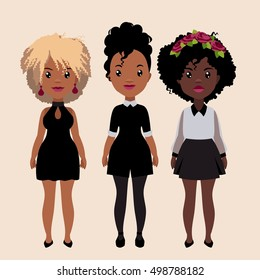 Vector colorful set of pretty stylish african girls in fashionable clothes