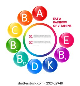 Vector colorful set of the rainbow colored bubble vitamins for your infographic. Circle illustration.