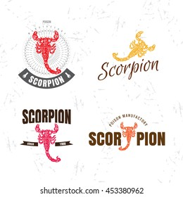 Vector colorful set with scorpion. The scorpion as main element of logotypes on white background.