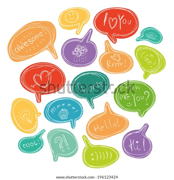 Vector colorful set of speech bubbles with short phrases and little pictures.