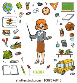 Vector colorful set with teacher and cartoon objects from school