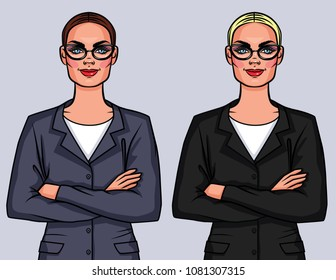 Vector colorful set of two businessmen in glasses with crossed arms. Lady boss in office suit standing in front