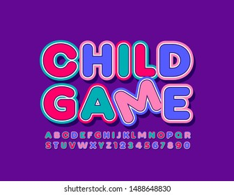 Vector colorful Sign Child Game. Bright Uppercase Font. Creative Alphabet Letters and Numbers