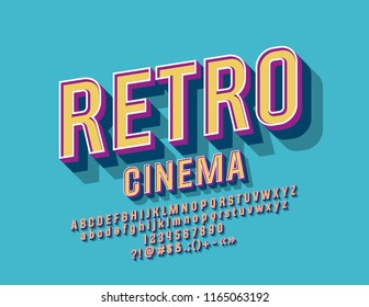 Vector Colorful Sign Retro Cinema. Stylish Font. Vintage Design Alphabet Letters, Numbers and Symbols