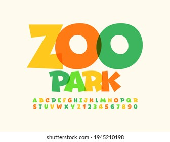 Vector colorful Sign Zoo Park. Kids Creative Font. Bright Alphabet Letters and Numbers