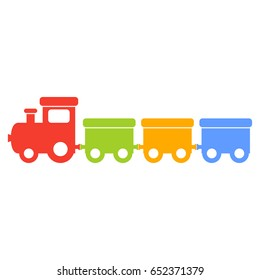 Vector colorful silhouette of a toy train