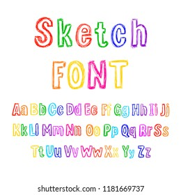 Vector Colorful Sketchy Font, Hand Drawn Letters Set, Isolated on White Background.