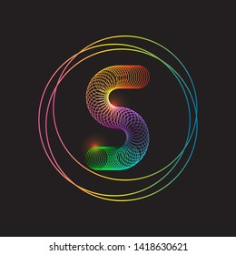 Vector of colorful slinky coil icon on black background. Eps 10 vector illustration.