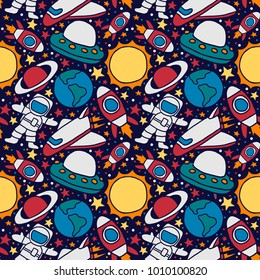 vector colorful space astronout rocket seamless pattern backgrou