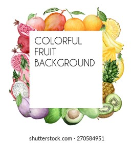 Vector colorful square background with watercolor fruits. Background for packaging, cards and posters.