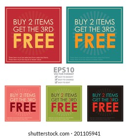 Vector : Colorful Square Buy 2 Items Get The 3rd Free Poster, Leaflet, Handbill, Flyer Icon, Label or Sticker Isolated on White Background