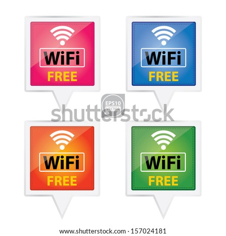 Vector Colorful Square Wifi Free Icons Stock Vector (Royalty Free
