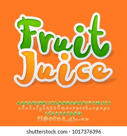 Vector Colorful Sticker style Alphabet with Fruit Juice Logotype. Set of Orange Letters, Numbers and Symbols