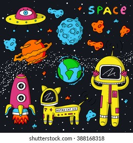 Vector colorful stickers of astronaut, planets, constellations, stars, cosmo cat and asteroids on dark background.