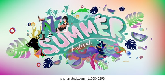 Vector colorful summer banner. Illustration tropical background for summer festival. Summer sale promotion banner and poster.