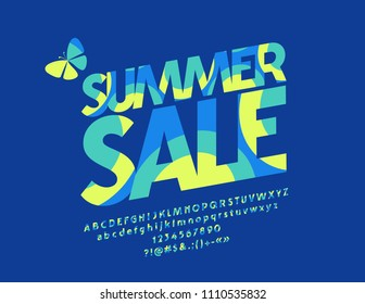 Vector colorful Summer Sale logo. Graphic Style Font. Yellow and blue Alphabet Letters, Numbers and Symbols