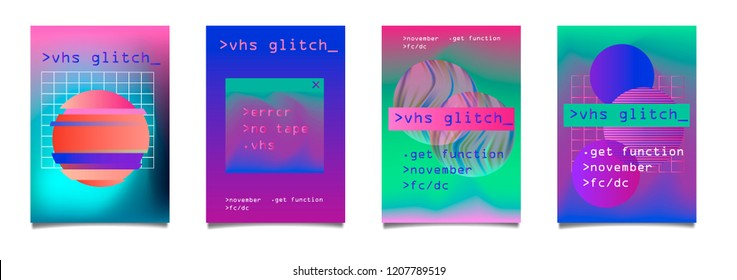 Vector colorful synthwave poster set. Circle and square shapes with modern TV distortion effect - lines and pixels, vhs glitch artifacts. Banner design, cover, club invitation, night party flyer.