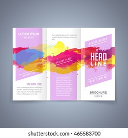 Vector colorful template of flyer or tri fold brochure with watercolor background