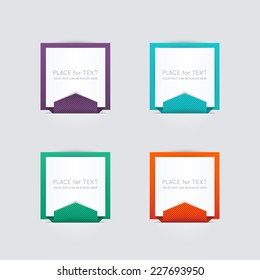 Vector colorful text box, trendy colors. Vector illustration can be used for workflow layout, diagram, number options, web design.