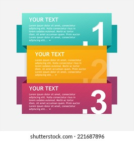 Vector colorful text boxes, infographics options banner 1 2 3 concept