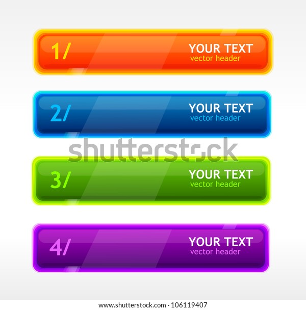 Vector colorful text button