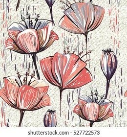 Vector colorful tulips on the texture background. Stylized drawn flowers backdrop. Seamless pattern for wallpapers, pattern fills, web page backgrounds, surface textures, fabric, carpet, home decor
