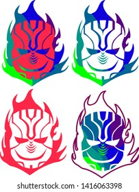 Vector Colorful variations of a mask in flames.